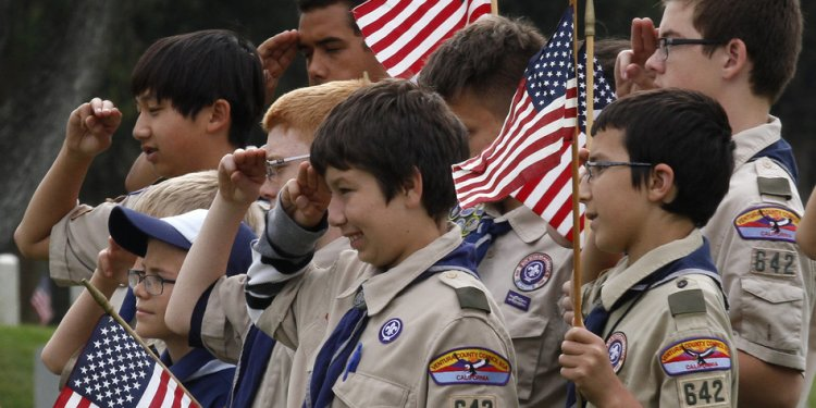 Boy Scouts attend a Memorial