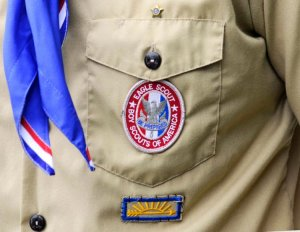 Above, an Eagle Scout patch. A California chapter of the Boy Scouts has challenged the organization's ban on gay members by recommending an openly gay former scout for Eagle, it's highest rank. A supporter called the BSA's anti-gay policy 'something out of the Dark Ages.'