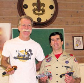 pinewood derby history - joe and gary with cars